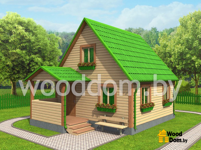 Каркасное здание с зеленой кровлей